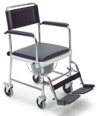 Chaise Multifonction accoudoirs rabattables cales pieds amovibles permet d'aller sur les toilettes ou utiliser le seau 4 roues 2 freins Prix special permanent 460 Fr au lieu de 867 Fr
